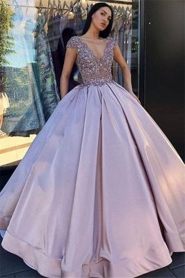 Alluring V-Neck without Sleeve Crystal Beading Ball-Gown Prom Dress UK UKes UK_1