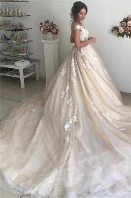 Applique Off-the-Shoulder Wedding Dresses UK Sequins Backless Sleeveless Floral Bridal Gowns_2