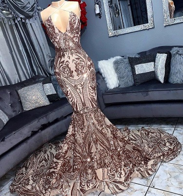 Alluring V-Neck Sequins without Sleeve Elegant Mermaid Floor Length Prom Dress UK UKes UK_1