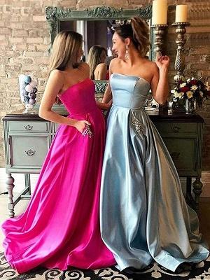 Strapless Beads Ruffles Prom Dress UKes UK Sleeveless Elegant Evening Dress UKes UK with Pocket_2