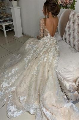 Elegant Lace Appliques V-Neck Wedding Dresses UK | Sheer Long Sleeves Backless Floral Bridal Gowns_3