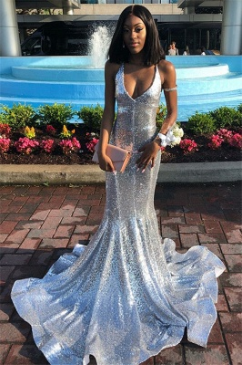 Sequins Halter Open Back Prom Dress UKes UK Mermaid Falbala Sleeveless Evening Dress UKes UK_1