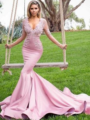 Sexy Pink Elegant V-Neck Long Sleeves Prom Dress UKes UK Applique Mermaid Ruffles Elegant Evening Dress UKes UK_2