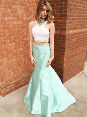 Sexy Halter Crystal Mermaid Prom Dress UKes UK Two Piece Ruffles Sleeveless Evening Dress UKes UK_3