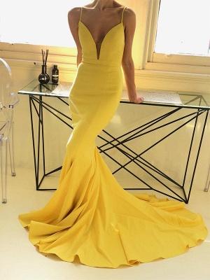 Charming yellow Spaghetti Strap Prom Dress UKes UK Sleeveless Mermaid Open Back Elegant Evening Dress UKes UK_2