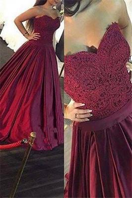 Burgundy Sweetheart Lace Appliques Prom Dress UKes UK Ruffles Sleeveless Evening Dress UKes UK Sexy_1