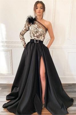 Elegant Blcak Asymmetric Side-Slit Feather Lace Applique Prom Dress UK_1
