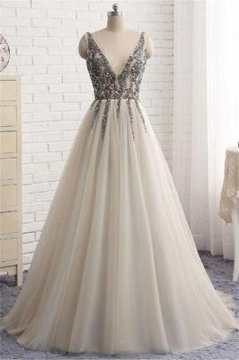 Sexy Elegant V-Neck Crystal Lace Appliques Prom Dress UKes UK Side slit Backless Sleeveless Evening Dress UKes UK_1