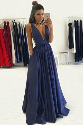 Elegant V-Neck Sleeveless Prom Dress UKes UK Ruffles Sexy Evening Dress UKes UK with Pocket_1