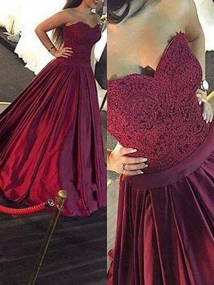 Burgundy Sweetheart Lace Appliques Prom Dress UKes UK Ruffles Sleeveless Evening Dress UKes UK Sexy_2