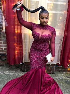 Trendy Burgundy Maroon High-Neck with Sleeves Sheer-Tulle Applique Prom Dress UK UK_4