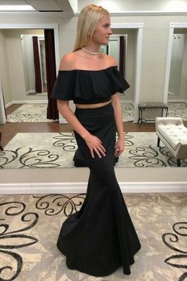 Sexy Two Piece Off-the-Shoulder Prom Dress UKes UK Falbala Mermaid Sleeveless Evening Dress UKes UK_1