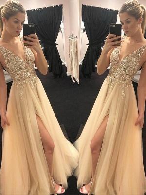 Sexy Spaghetti Strap Sequins Crystal Prom Dress UKes UK Tulle Side Slit Sleeveless Evening Dress UKes UK_2