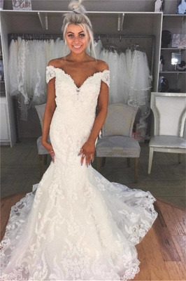 Elegant Appliques Off-the-Shoulder Wedding Dresses UK | Sheer Sleeveless Floral Bridal Gowns_1