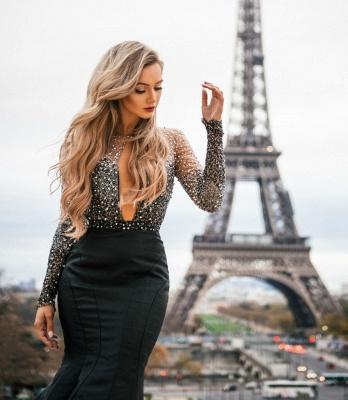 Amazing Black Sheer-Tulle Lace Appliques with Sleeves Elegant Mermaid Prom Dress UK UK_3