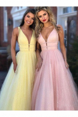 Sexy Sequins Riboons Straps Prom Dress UKes UK Ball Gown Sleeveless Evening Dress UKes UK with Beads_8