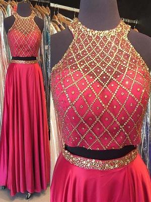 Fashion Pink Sequins Lace Appliques Crystal Halter Prom Dress UKes UK Sleeveless Evening Dress UKes UK With Sash_2