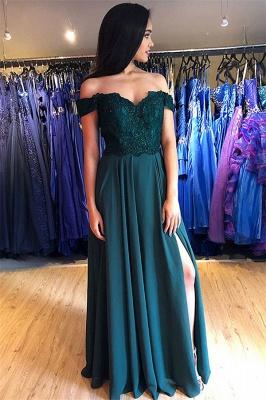 Sexy Off-the-Shoulder Lace Appliques Prom Dress UKes UK Side Slit Sleeveless Evening Dress UKes UK with Beads_1