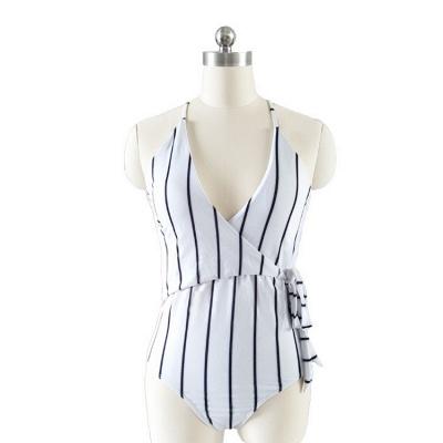 One-piece Stripes V-neck Hollow Back Swimwears_3