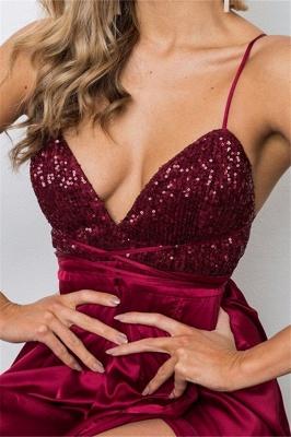 Burgundy Sequins Spaghetti Strap Prom Dress UKes UK Lace Up Sleeveless Side Slit Elegant Evening Dress UKes UK_3