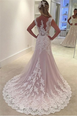 Lovely Pink Appliques Wedding Dresses UK   Sleeveless Floral Bridal Gowns_2