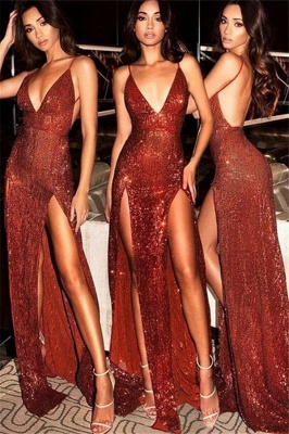 Spaghetti Strap Open Back Prom Dress UKes UK Sleeveless Side Slit Elegant Evening Dress UKes UK_3
