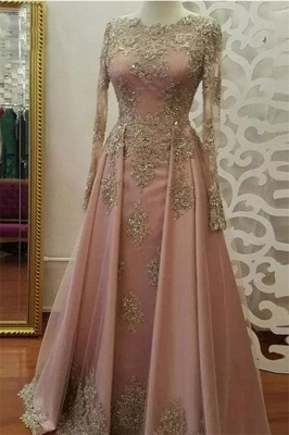 Sexy Lace Appliques Crystal Jewel Prom Dress UKes UK Side slit Longsleeves Evening Dress UKes UK with Beads_1