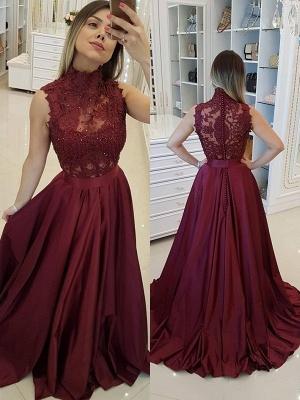 Burgundy High Neck Applique Prom Dress UKes UK Sleeveless Beads Elegant Evening Dress UKes UK with Sash_1