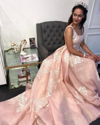 Sexy Pink Lace Appliques Straps  Prom Dress UKes UK Ruffle Sexy Sleeveless Evening Dress UKes UK_3