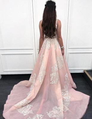 Sexy Pink Lace Appliques Straps  Prom Dress UKes UK Ruffle Sexy Sleeveless Evening Dress UKes UK_2