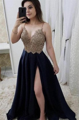 Sexy Beads Spaghetti-Strap Lace Appliques Prom Dress UKes UK Side slit Sleeveless Evening Dress UKes UK_2