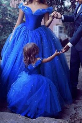 Sexy Off-the-Shoulder Flower Prom Dress UKes UK Sleeveless Tulle Ball Gown Evening Dress UKes UK wit Beads_2