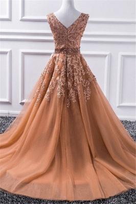 Sexy Elegant V-Neck Applique Crystal Prom Dress UKes UK Sleeveless Tulle Elegant Evening Dress UKes UK Sexy_3