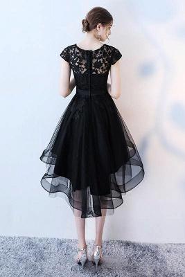Black Bowknot Jewel Lace Appliques Homecoming Dress UKes UK HI-Lo Sheer Sleeveless Short Party Dress UKes UK_2