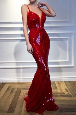 Red Spaghetti-Straps Sleeveless Sequins Elegant Trumpt Prom Dress UKes UK UK_1