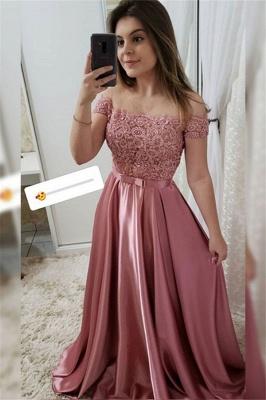 Applique Off-the-Shoulder Prom Dress UKes UK Beads Sleeveless Elegant Evening Dress UKes UK with Bow-knot Sash_1