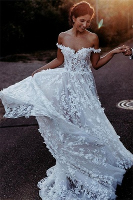 Flowers Off-the-Shoulder Wedding Dresses UK | Appliques Sheer Sleeveless Floral Bridal Gowns_2