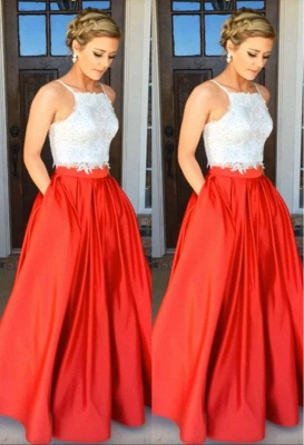A-Line Gorgeous Two-Piece Lace Prom Dress UK_1