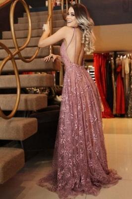 Sexy Pink Lace Appliques Elegant V-Neck Prom Dress UKes UK Backless Sleeveless Evening Dress UKes UK_2
