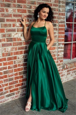 Green Lace Up Halter Prom Dress UKes UK Front Slit Sexy Evening Dress UKes UK with Package_1