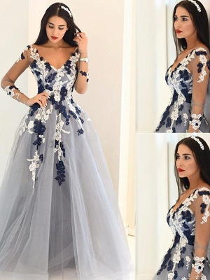 Sexy Off-the-Shoulder Lace Appliques Prom Dress UKes UKSimple Long Sleeves Evening Dress UKes UK_1