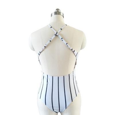 One-piece Stripes V-neck Hollow Back Swimwears_5