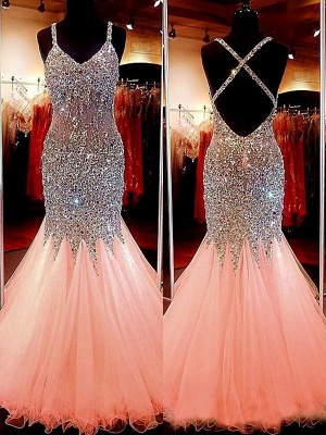 Spaghetti Strap Beads Crystal Prom Dress UKes UK Sleeveless Pink Lace Up Evening Dress UKes UK_2