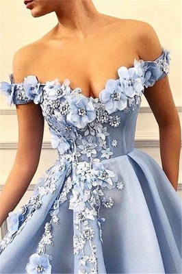 Simple Off-The-Shoulder Flower Lace Appliques without Sleeve A-Line Prom Dress UK_2