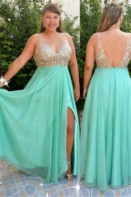 Sexy Sequins Green Elegant V-Neck Prom Dress UKes UK Plus Size Open Back Side-Slit Elegant Evening Dress UKes UK_1