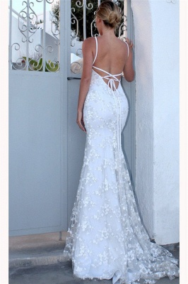 Sexy Spaghetti-Strap Lace Appliques Prom Dress UKes UK Side slit Lace-Up Mermaid Sleeveless Evening Dress UKes UK_2