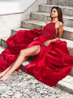 Sexy Red Halter Sleeveless Prom Dress UKes UK Side Slit Elegant Evening Dress UKes UK with Beads_2