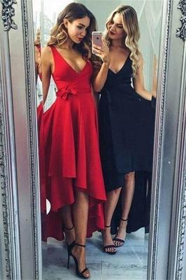 Sexy Bowknot Elegant V-Neck Prom Dress UKes UK Hi-Lo Ruffles Sleeveless Evening Dress UKes UK_1