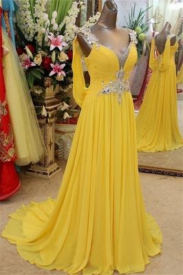 Charming Yellow Spaghetti Strap Open Back Prom Dress UKes UK Sleeveless Lace Appliques Evening Dress UKes UK with Beads_1