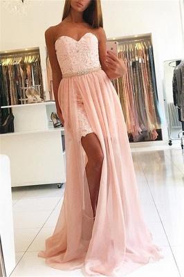 Pink Sweetheart Applique Crystal Prom Dress UKes UK Side Slit Lace Elegant Evening Dress UKes UK Over Skirt with Sash_1